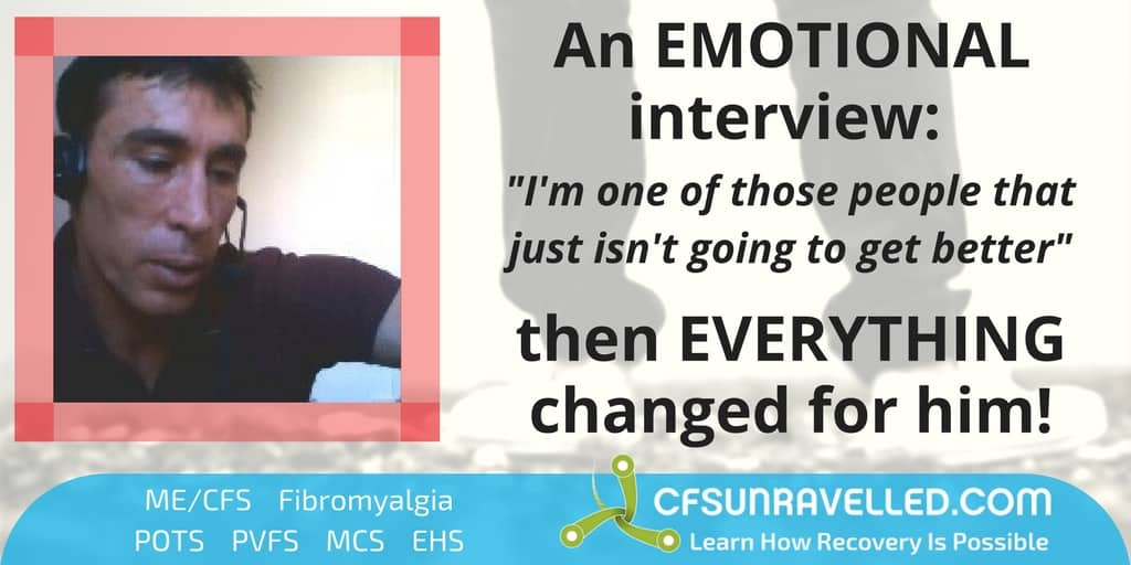 Emotional picture in ME/CFS Recovery interview with lower legs in background