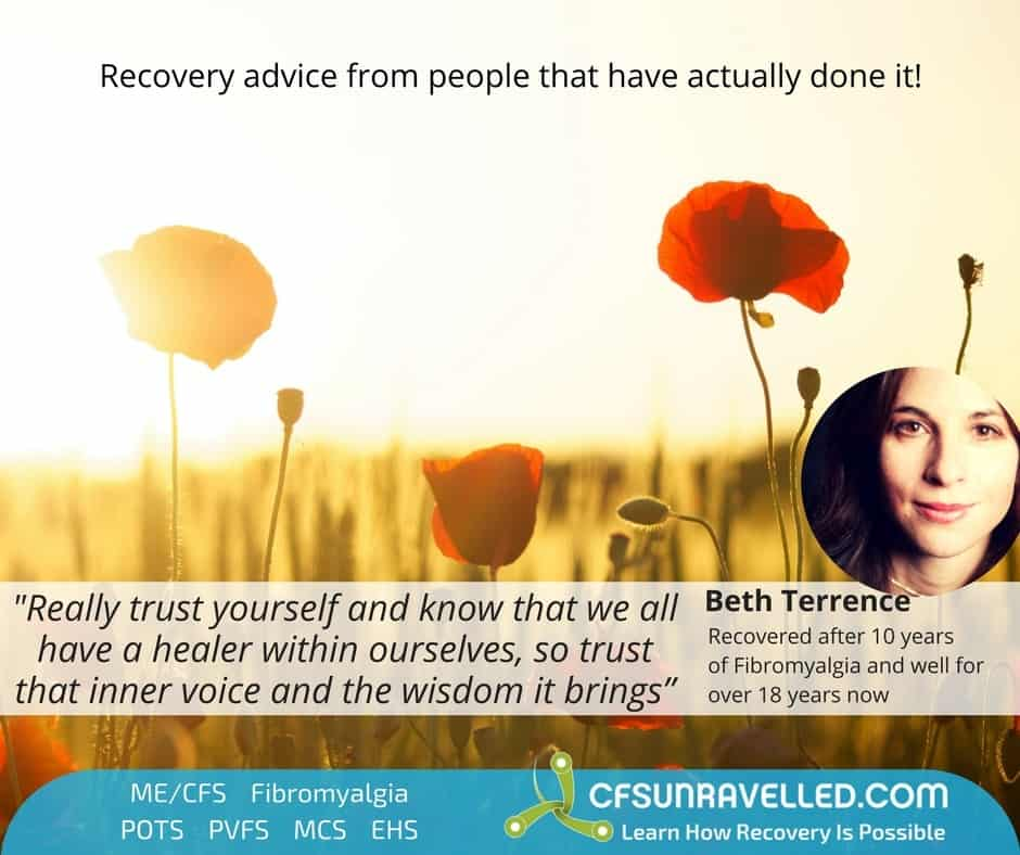 Beth Terrence fibromyalgia recovery quote with flower field