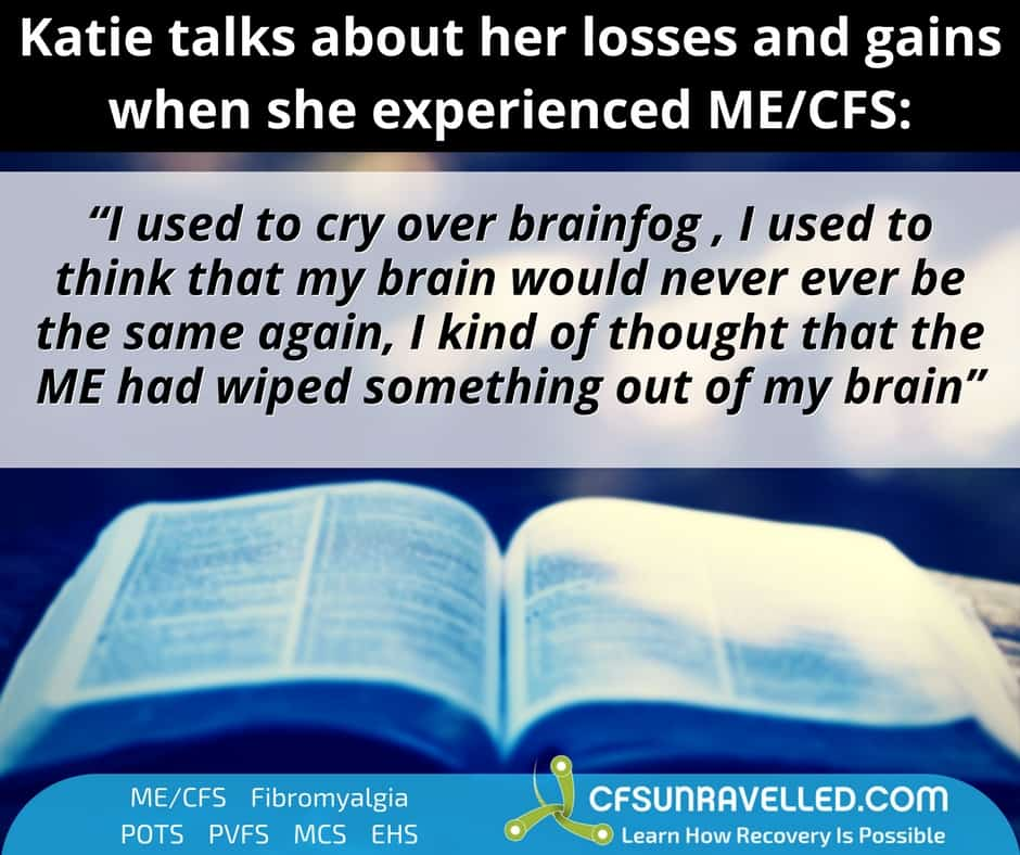 open book with quote how CFS relapse affected Katie