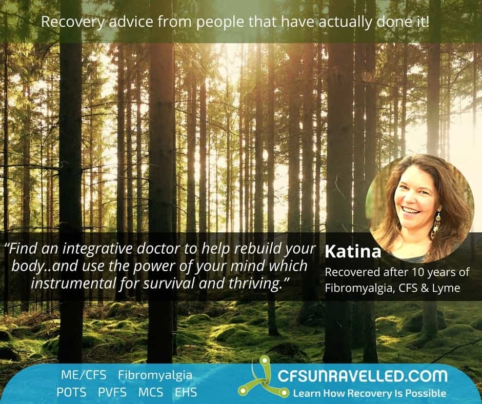 Katina Makris recovery quote with woods in the background