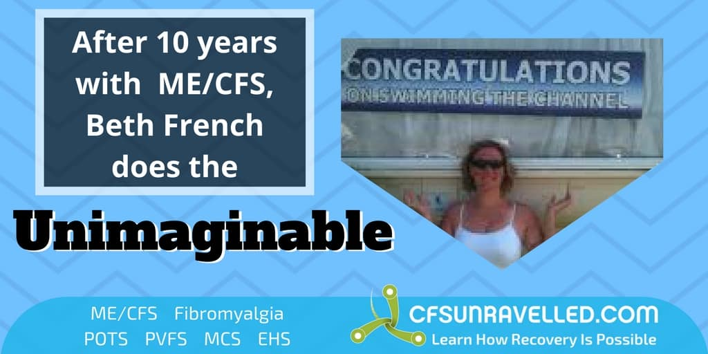after 10 years of ME/CFS, Beth French photo celebrating doing unimaginable