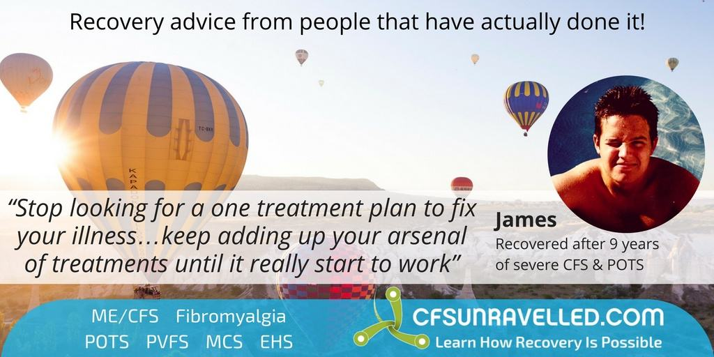 James ME/CFS POTS quote with background of hot air balloons at sunrise