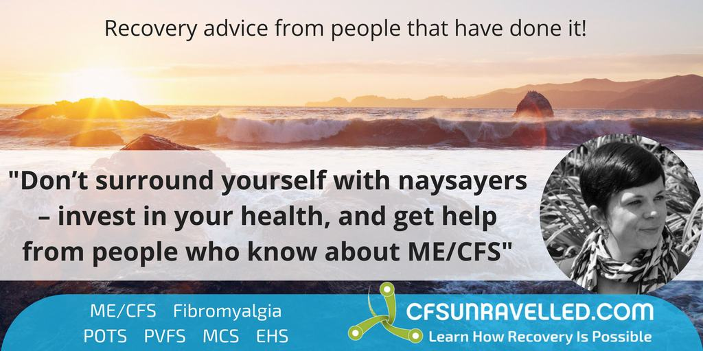 Rachel quote about naysayers and ME/CFS recovery with surf in background at sunset