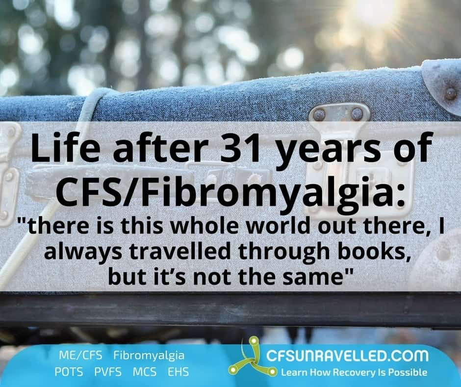 Life after CFS/Fibromyalgia quote over top of suitcase photo