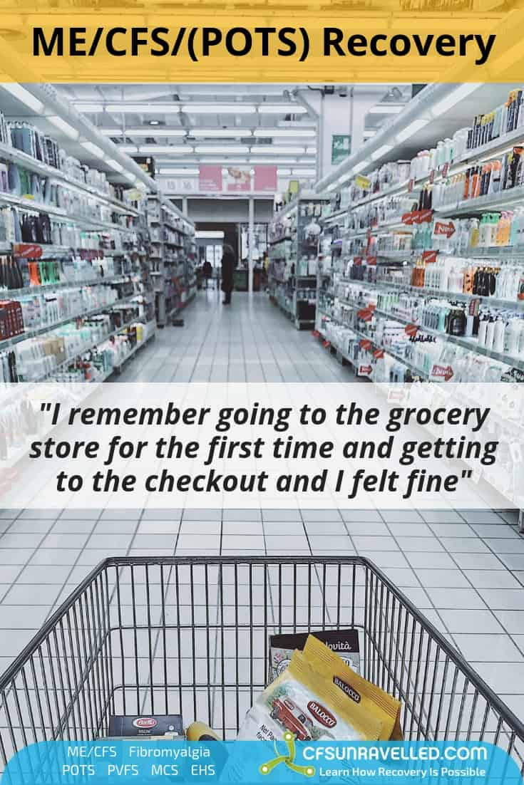 picture of trolley in supermarket with mecfs pots recovery quote