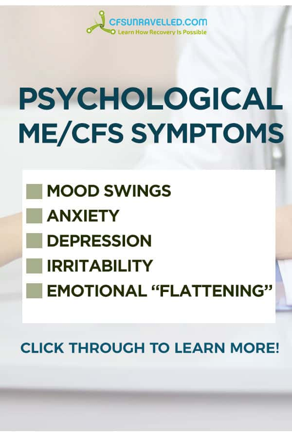 Psychological Chronic Fatigue Syndrome symptoms list over picture of doctor