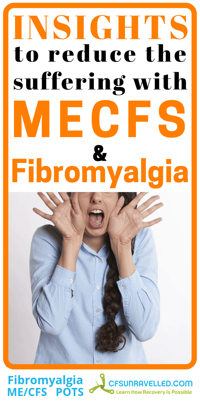 poster with woman yelling about fibromyalgia mecfs realisation