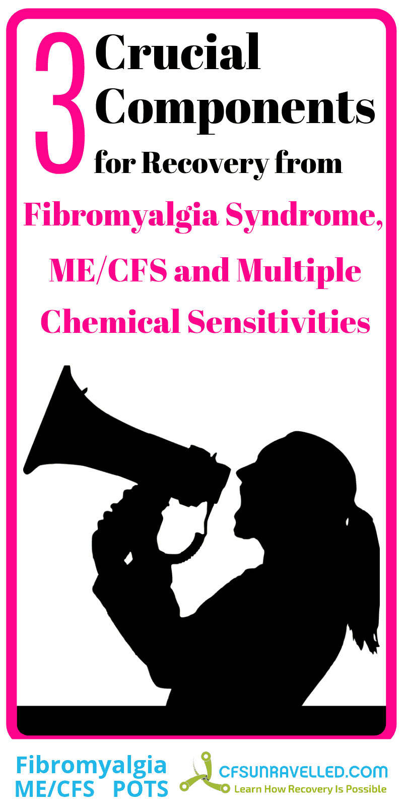 poster with person shouting into megaphone about components of me/cfs fibromyaliga MCS recovery