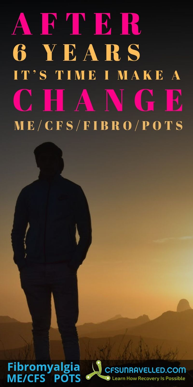poster about change with man standing near sunset