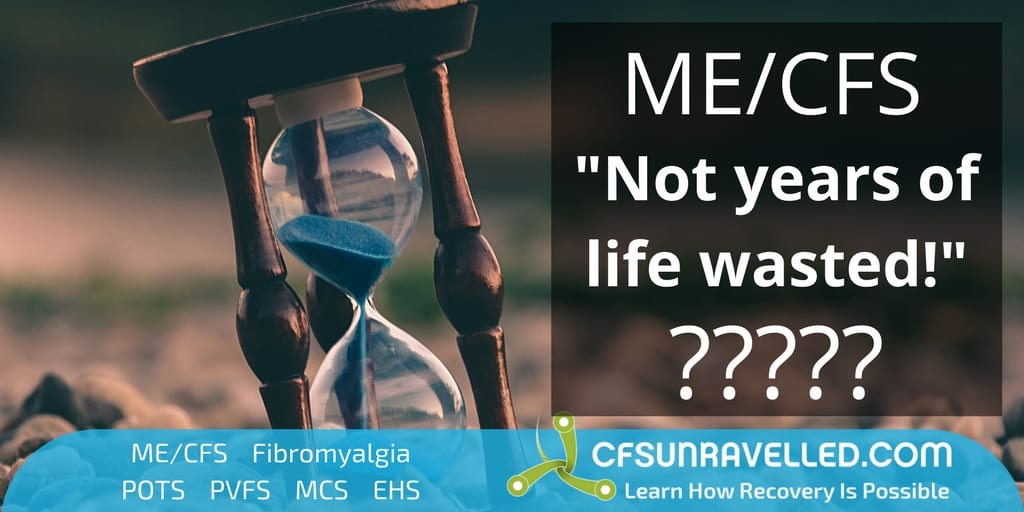 Tim says years with ME/CFS not wasted with background of hourglass