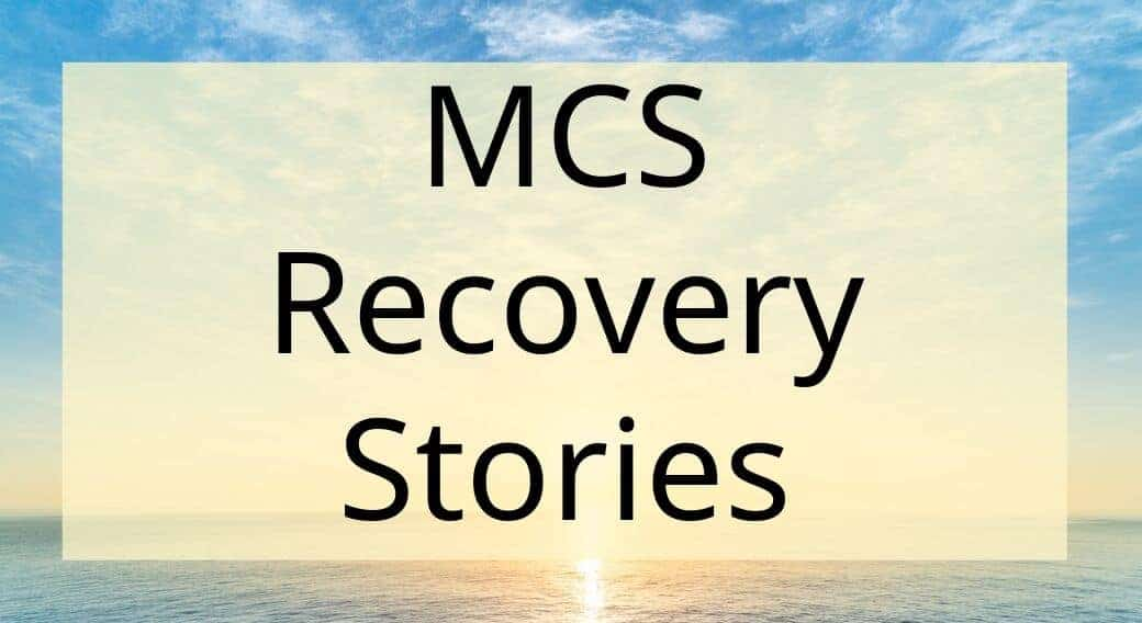 sunset background with words MCS recovery stories