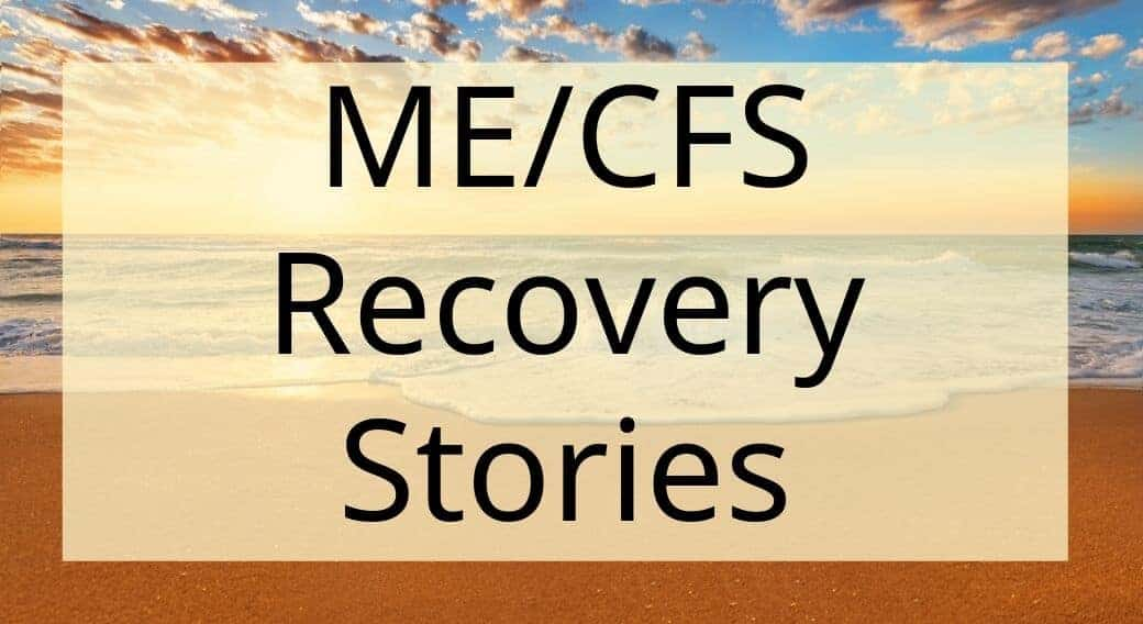 sunset background with words ME/CFS recovery stories
