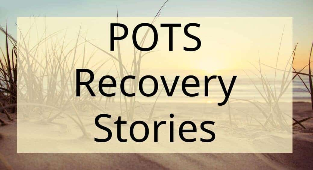 sunset background with words POTS recovery stories