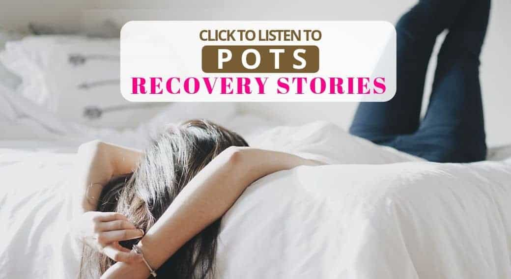 woman lying on bed with POTS recovery stories headline