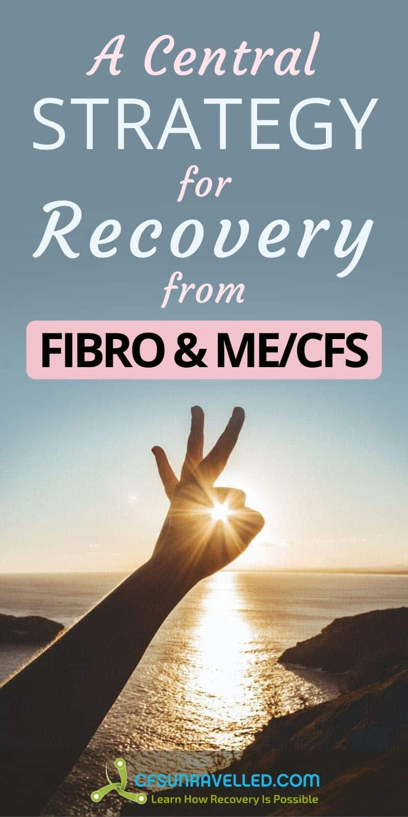 Hand with sunset effect at the center with a central strategy for recovery from FIBRO and MECFS