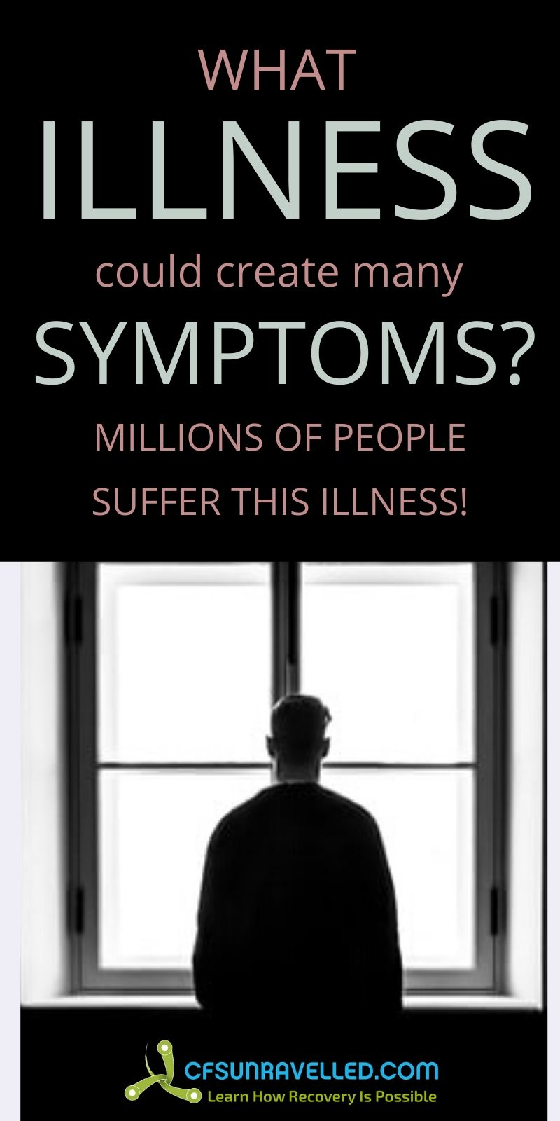 Man looking out at the window with what illness ccould create many symptoms text