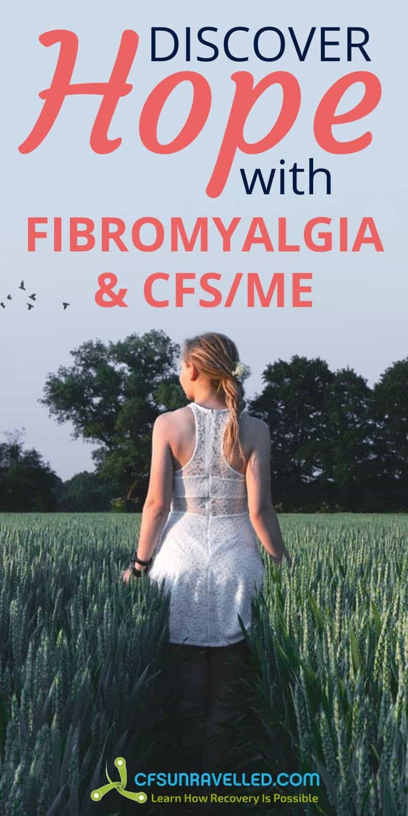 Woman in the middle of field with discover hope with fibromyalgia nd CFSME