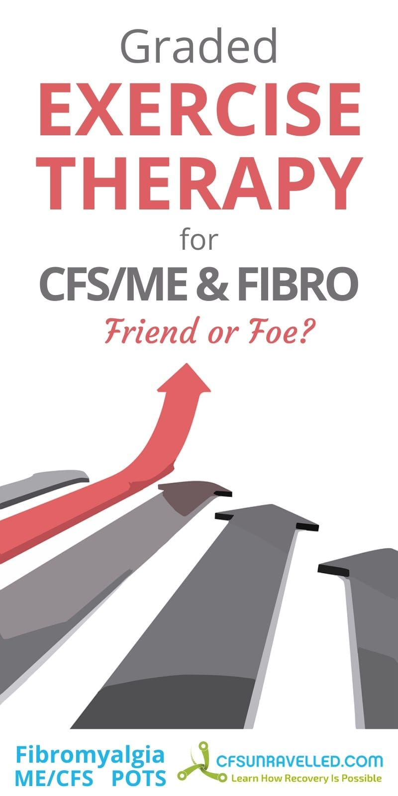Gray and red arrow as graded exercise therapy for CFSME and Fibromyalgia
