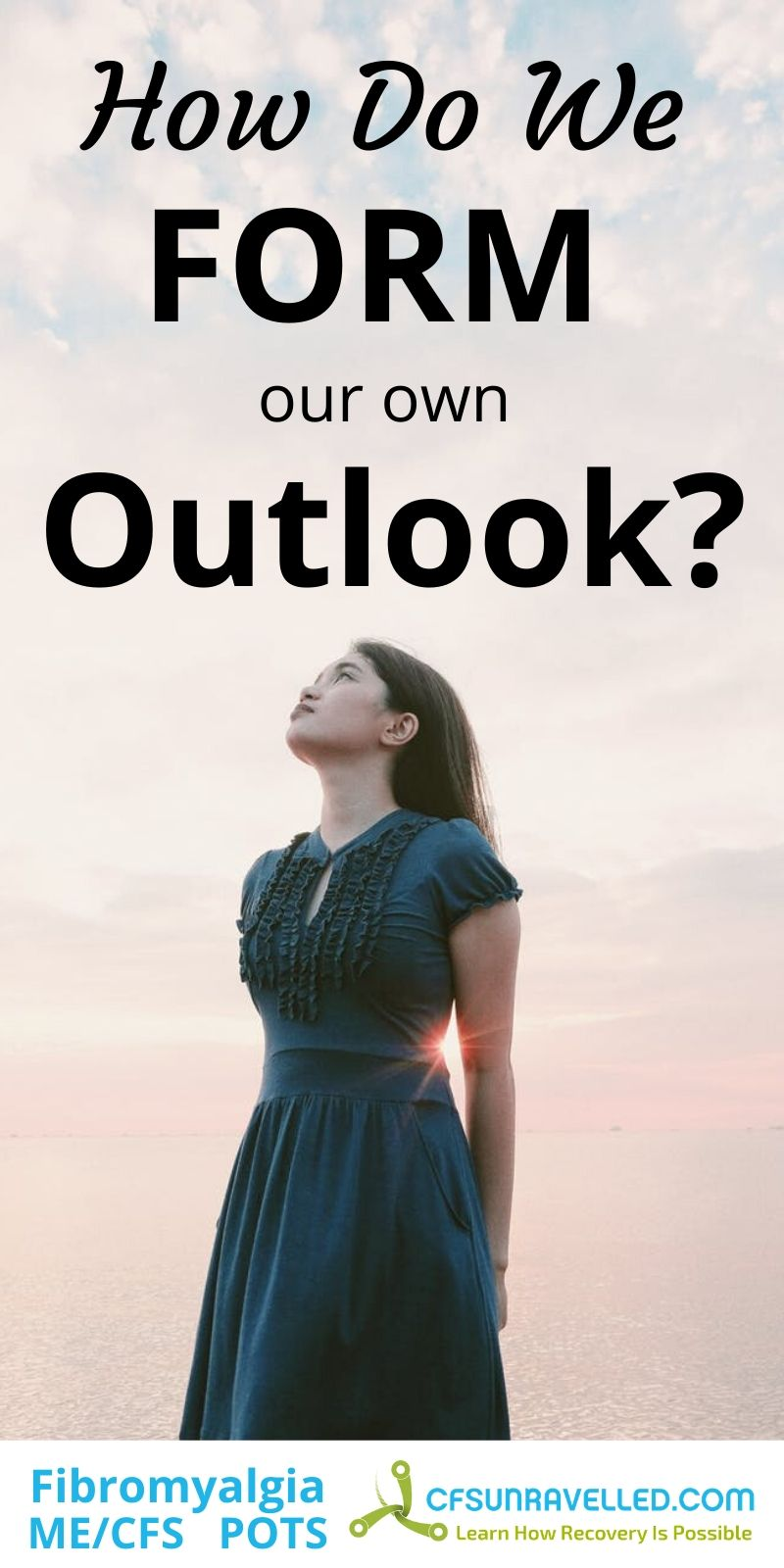 Woman in formal dress looking up with how do we form our own outlook text