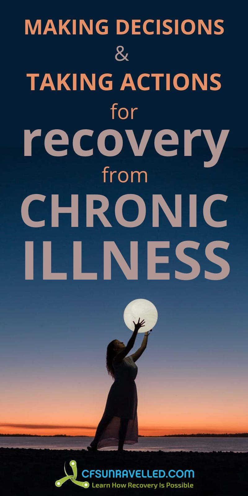 Woman holding the moon with recovery for chronic illness text