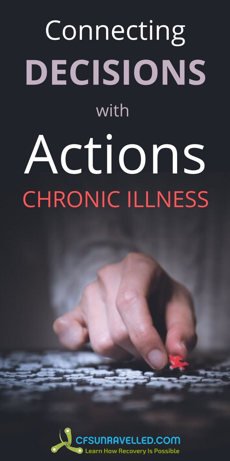 Hand holding puzzle piece with connecting decisions  with actions for chronic illness text