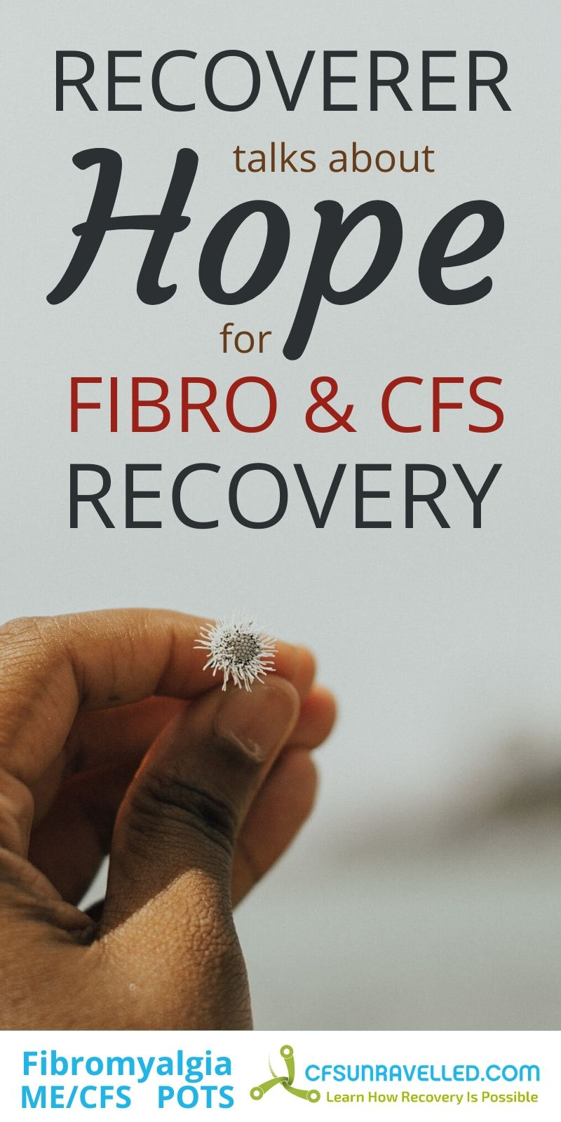 Womans hand holding dandelion flower with text about recoverer talks about hope for fibromyalgia and CFS recovery