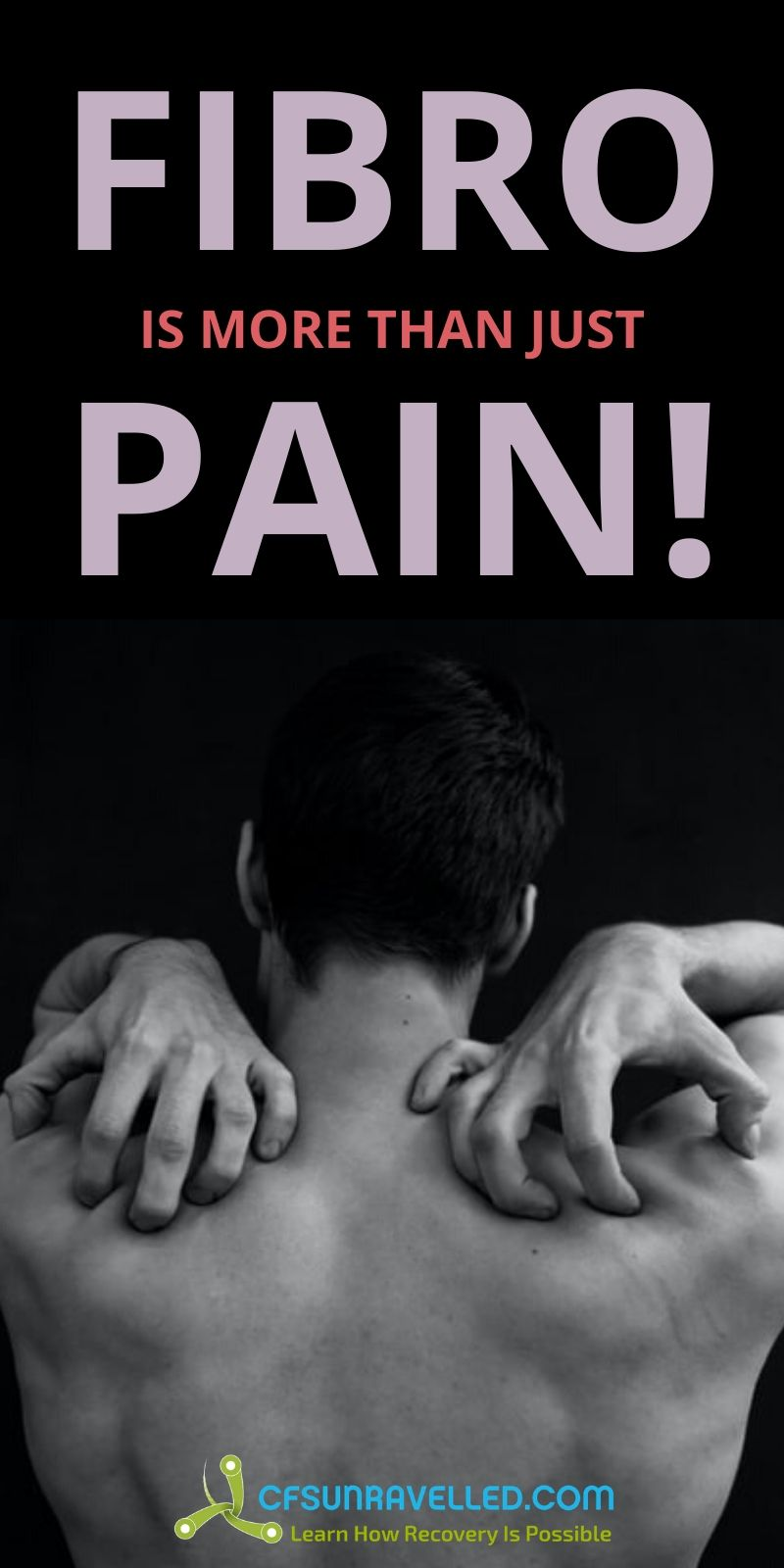 Man in pain with Fibromyalgia is more than just pain text on top